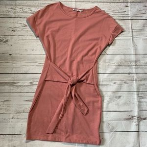 Justfab tie front short sleeve sweater dress